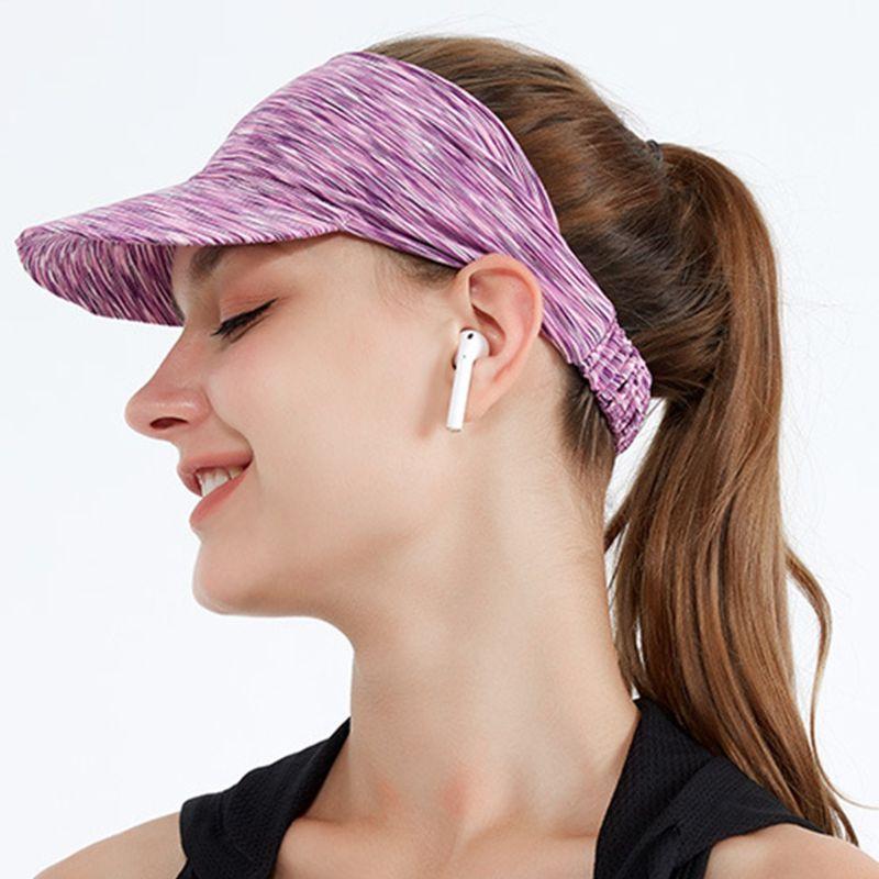 Women Men Summer Sun Visor Headband Multicolored Striped UV Protection Empty Top Baseball Hat for Running Cycling Sports