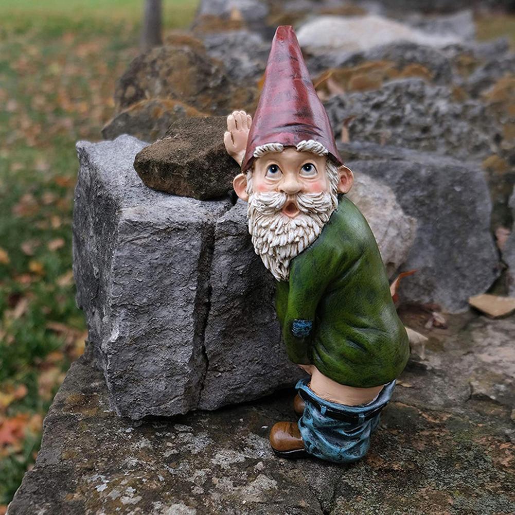 Funny Resin Figurines Naughty Garden Gnome Garden Decoration Statue Gnome Decoration Villa Home Figurines Decoartion