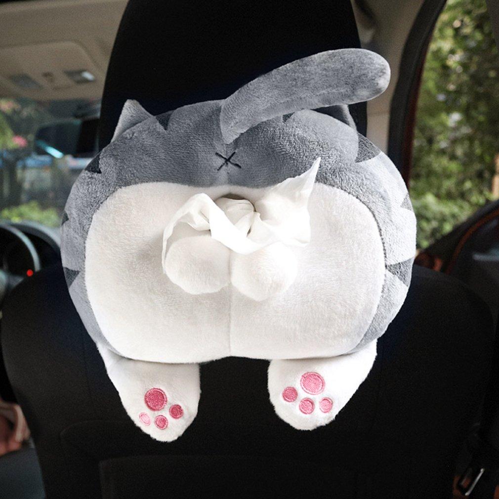 Car Tissue Box Cartoon Creative Car Armrest Box Paper Box Plush Cat Butt Tissue Box Portable Hand Paper Box