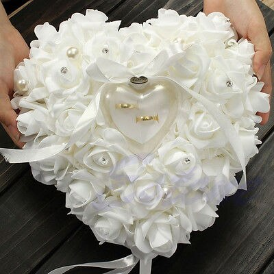 Romantic Wedding Ivory Satin Crystal Ring Bearer Pillow Cushion Ring Pillow Heart Shape For Engagement Propose Marriage Decor