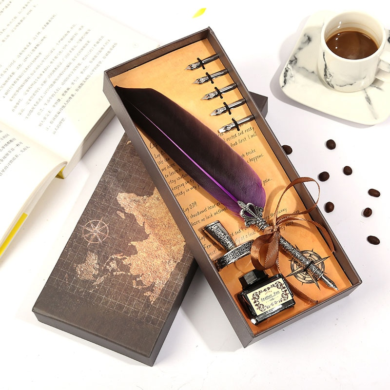1set Retro Vintage Calligraphy Feather Dip Pen Writing Ink Set Stationery Quill Fountain Pens Creative Vintage Pen Dropshipping