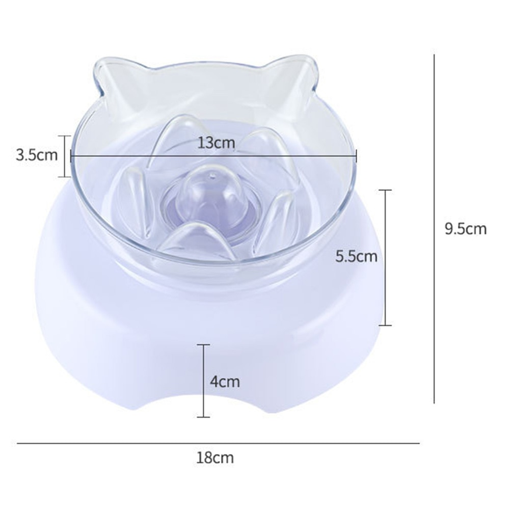 Non Toxic With Raised Stand Cat Bowl Easy Clean Neck Protection Food Feeding Transparent Anti Suffocate 15 Degree Tilt Plastic