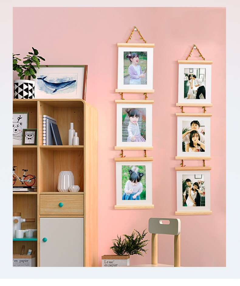 7 Inch Combination 3 Connected Wall Hanging Photo Frame Simple Solid Wooden Clip Paper Picture Holder Home Decoration Wood Frame