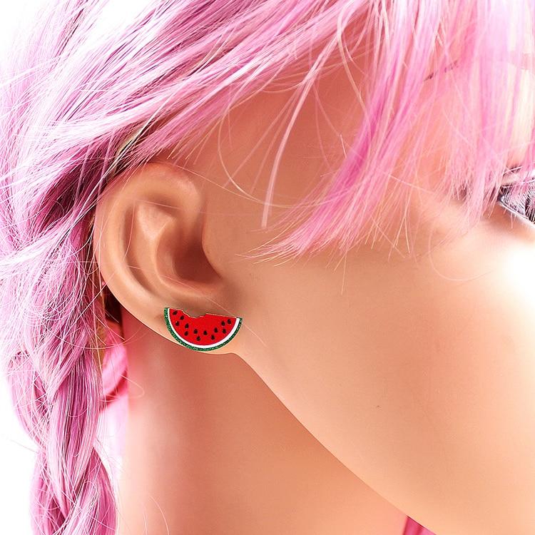 (1pair) ST074 Watermelon Stud Earrings UV Print Green Glitter Cute Fruit Earrings Acrylic Earrings