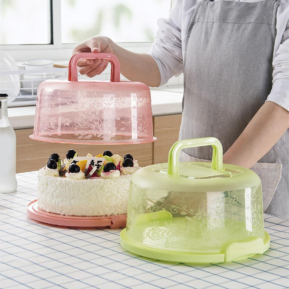 Portable Cake Storage Box Multicolor Blue Green Pink Round Birthday Food Fruits Dessert Baking Container Carrier Holder Case New