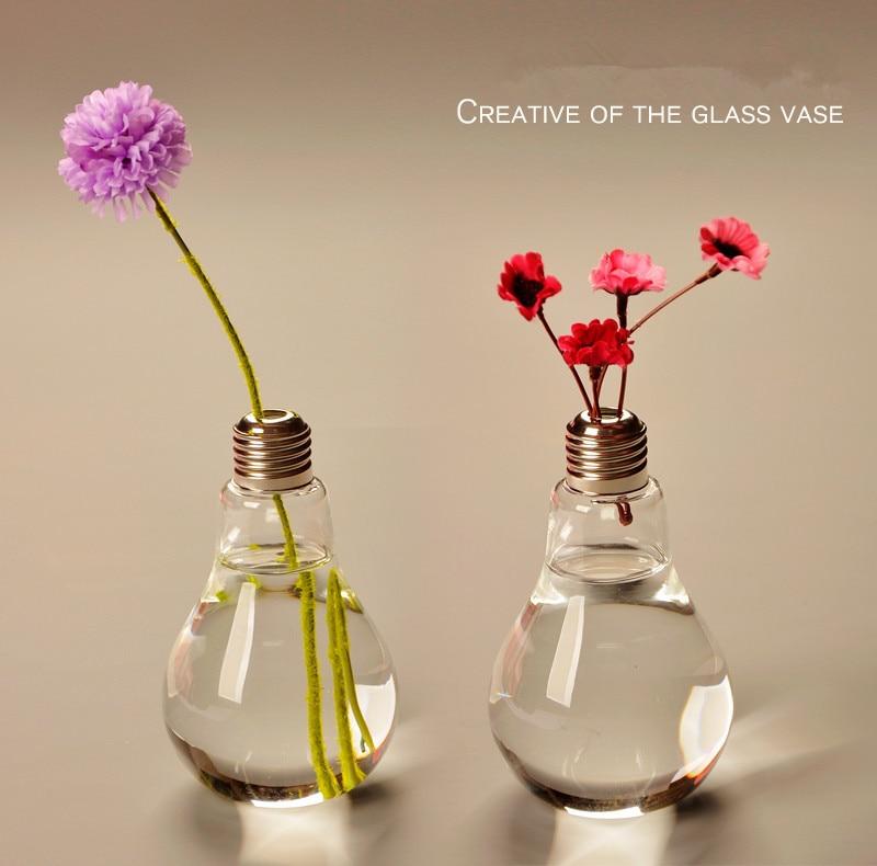 Home Decor Wedding Decoration Light Bulb Transparent Glass Vase Fashion Hydroponic Flower Vase Home Hecoration Gifts
