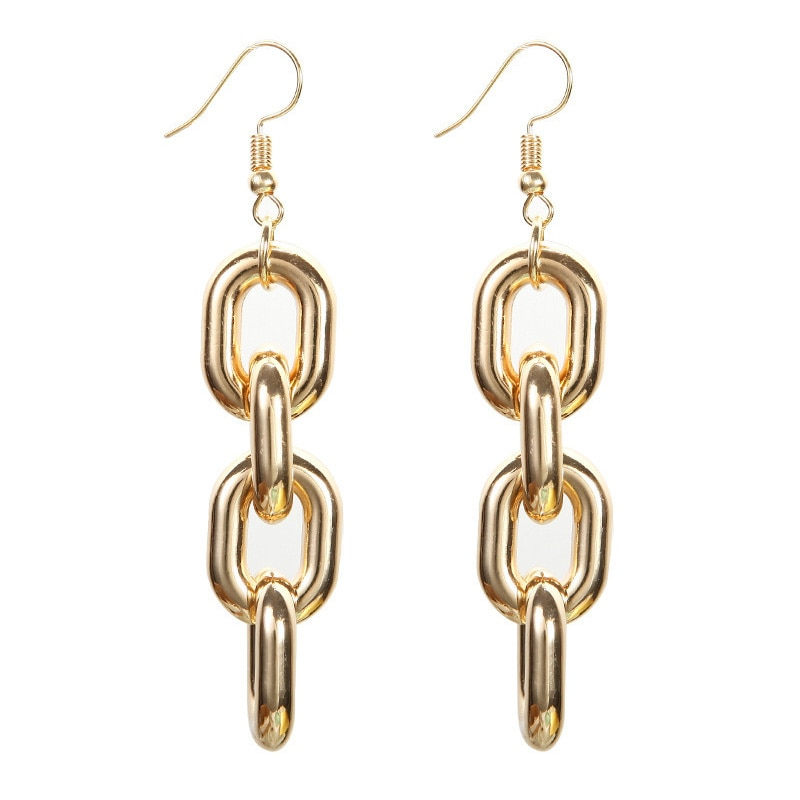Fashion Women Dangle Earrings Punk Style Thick Link Chain Charm Pendant Long Geometric Drop Earring Women Statement Jewelry Gift