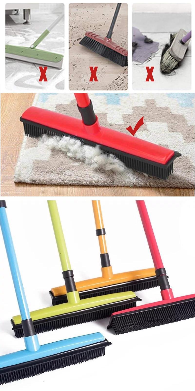 UNTIOR Floor Hair Broom Dust Scraper & Pet rubber Brush Carpet carpet cleaner Sweeper No Hand Wash Mop Clean Wipe Window Tool
