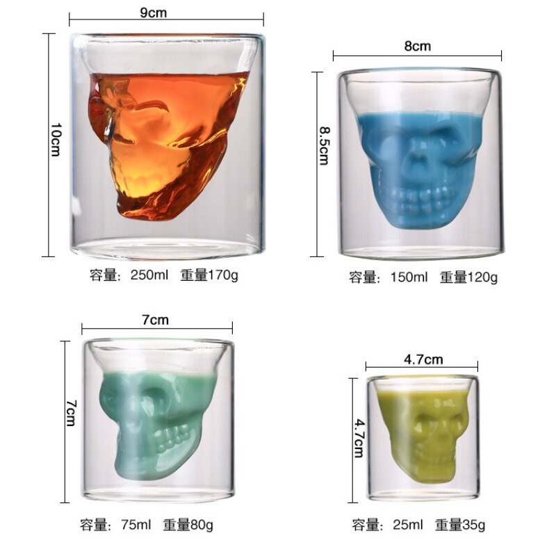 Double-layered Transparent Skull Head Coffee Mug Crystal Glass Cup for Home Bar Club Whiskey Wine Vodka and Beer Wine Glass