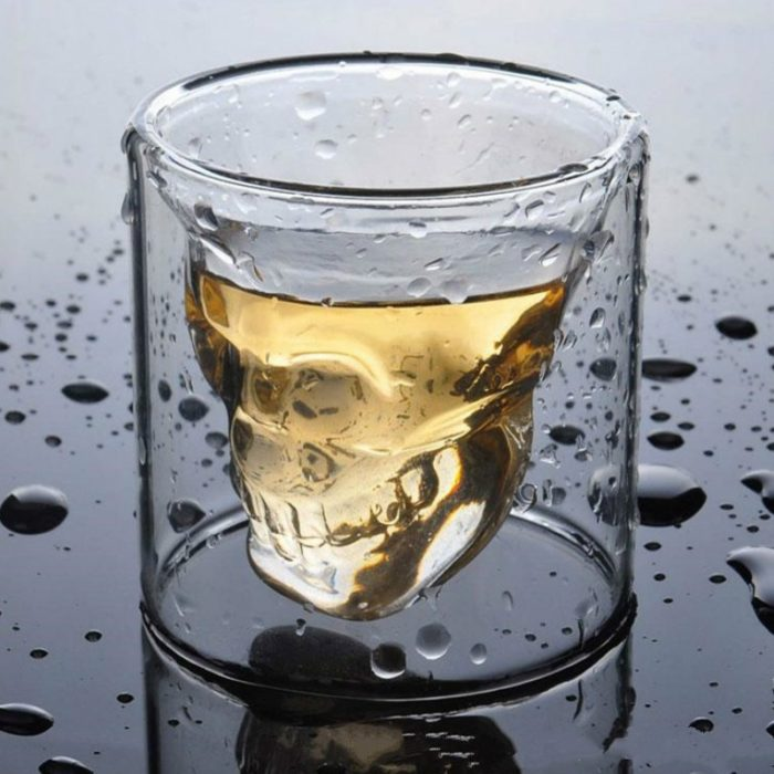 Double Wall Skull Drinking Glass