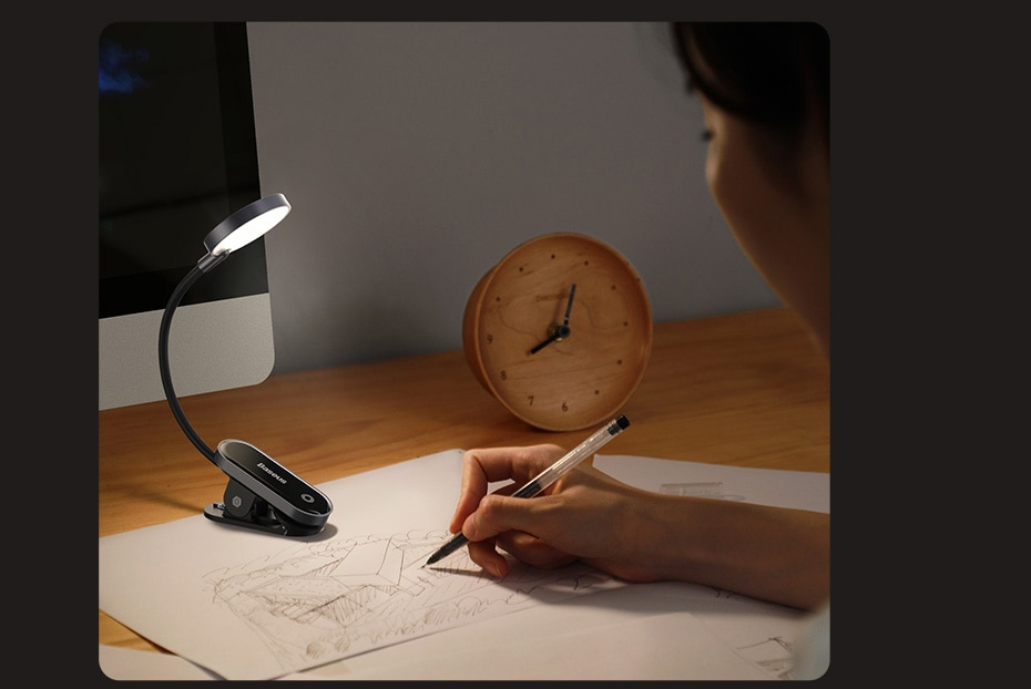 Baseus Book Light USB Led Rechargeable Mini Clip-On Desk Lamp Light Flexible Night Light Reading Lamp for Travel Bedroom Book