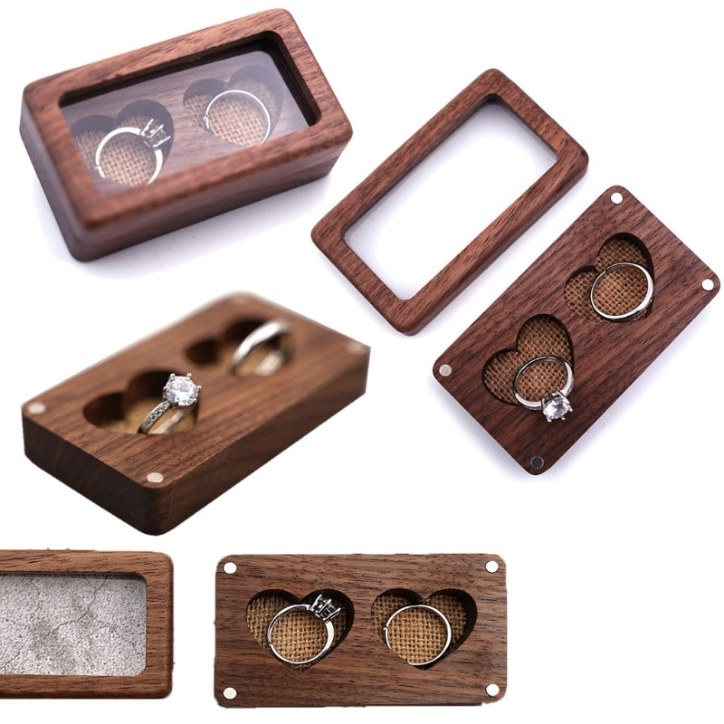 Walnut Wood Jewelry Box Engagement Wedding Ceremony Ring Storage Proposal Portable Ring Holder Rustic Wedding Ring Box