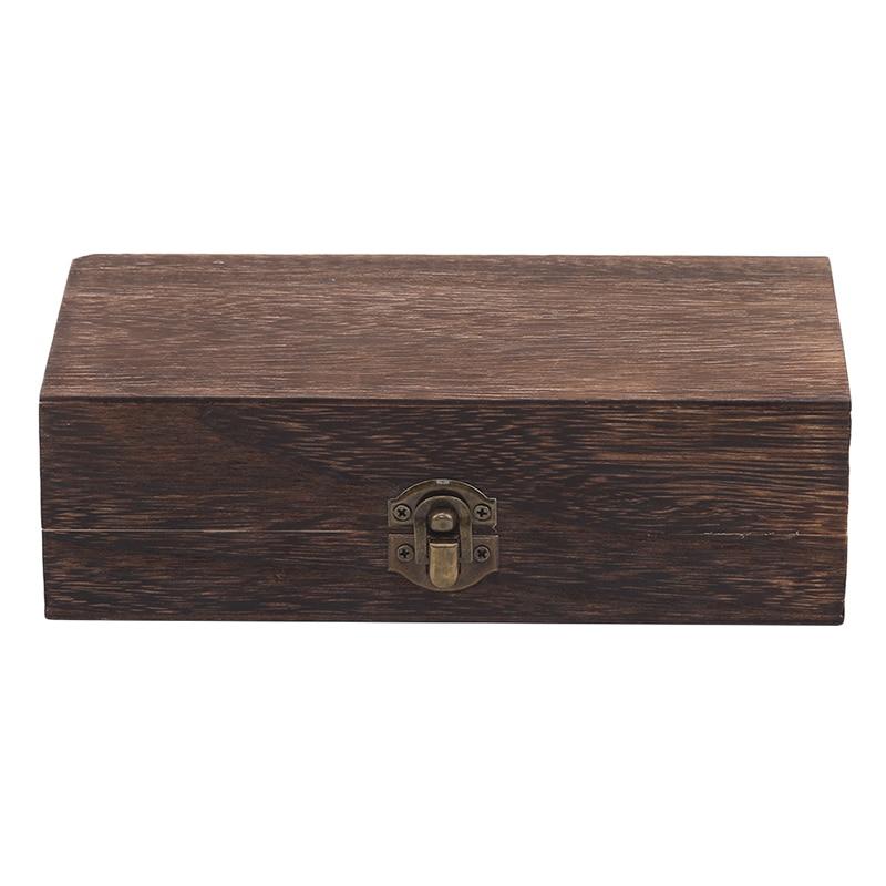 Home Storage Box Natural Wooden With Lid Golden Lock Postcard Organizer Handmade Craft Jewelry Case Wooden Box