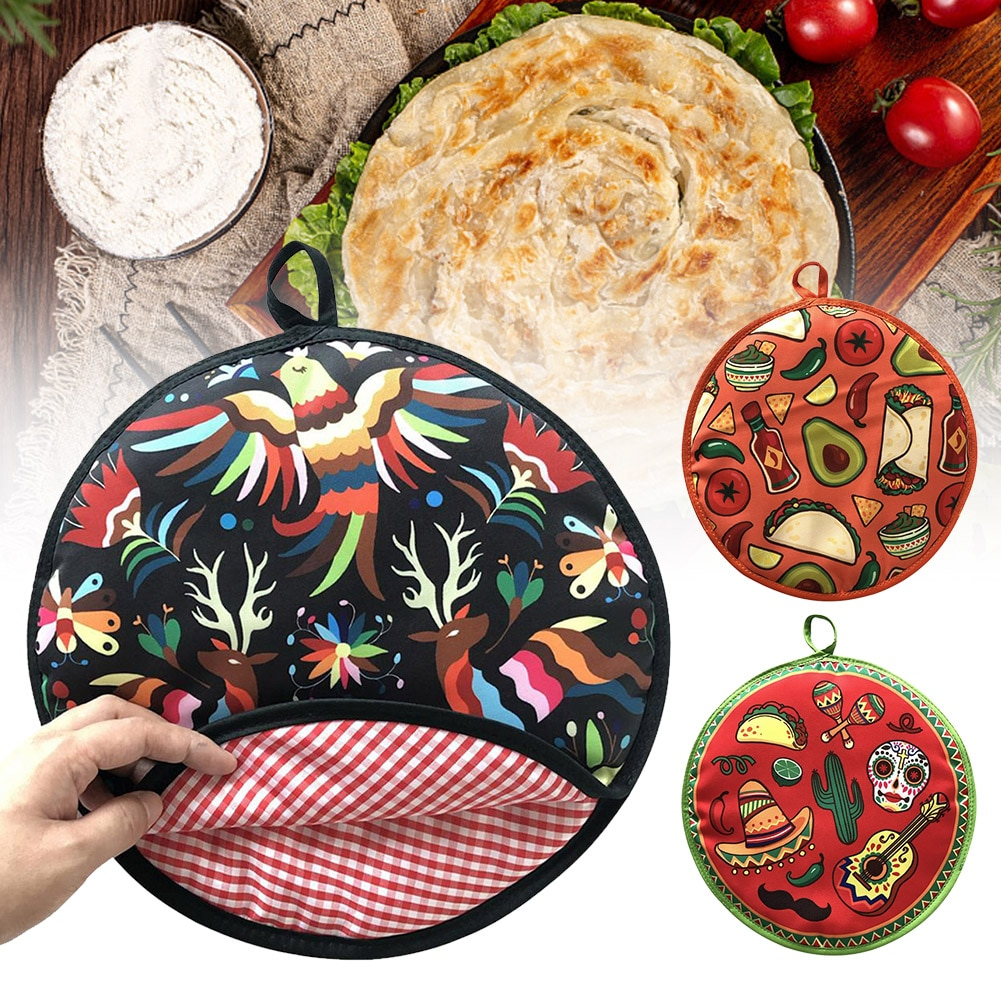 12inch Cloth Bag Burrito Portable Tortilla Warmer Pouch Home For Microwave Restaurant Food Pancake Heat Resistant Printed Flour