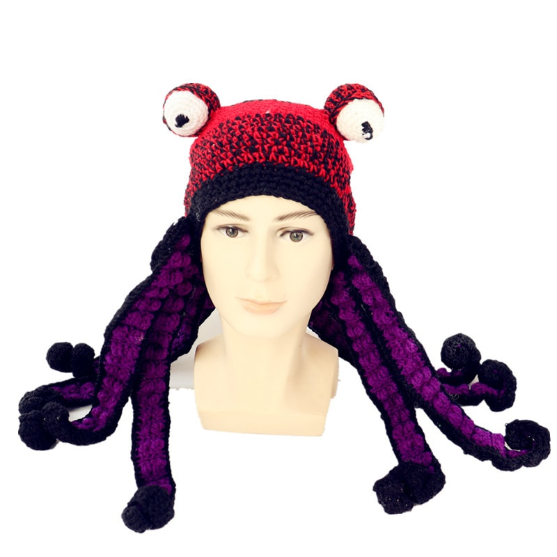 Octopus Beard Hand Weave Knit Wool Hats Men Christmas Cosplay Party Funny Tricky Headgear winter Warm Couples Hat Dropshipping