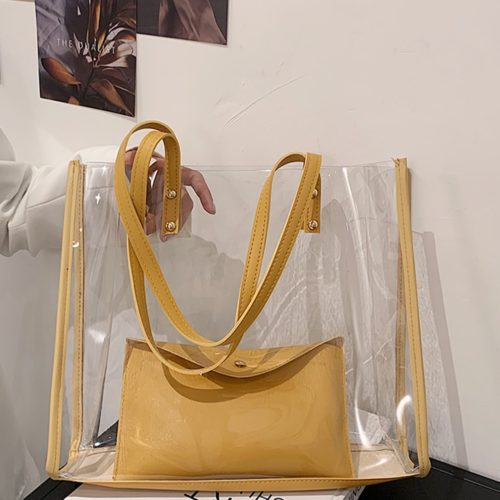 Clear Plastic Tote Bag with Pouch