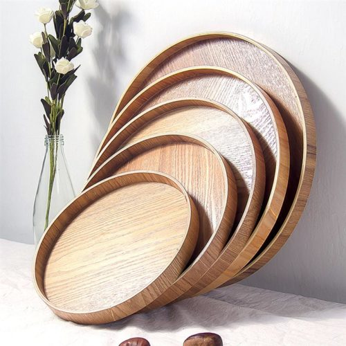 Round Wooden Tray Serving Plate