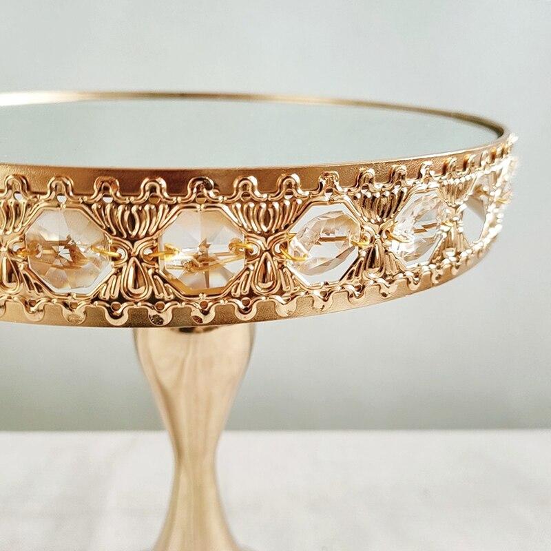 1pcs Gold Round Cupcake Stands Metal Dessert Display Cake Plate