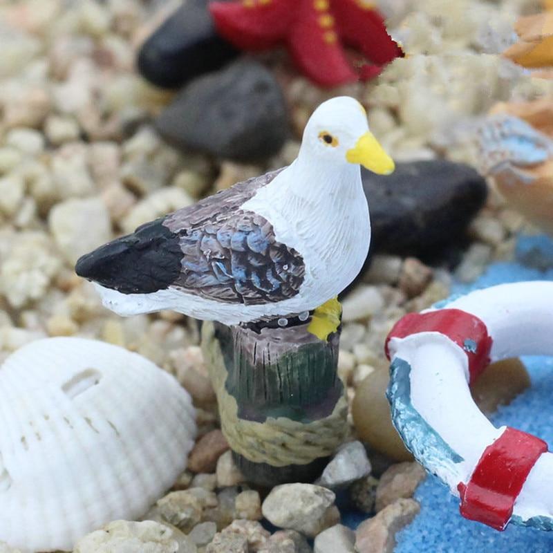3PCS Sea Bird Seagull Stand Stump Miniature Fairy Garden Houses Decoration Mini Craft Micro Landscaping Decor DIY Accessories