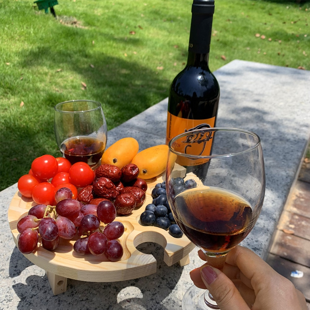 Wooden Outdoor Tables Wine Table With Foldable Folding Picnic-Table With Glass Holder Camping Table Garden Furniture