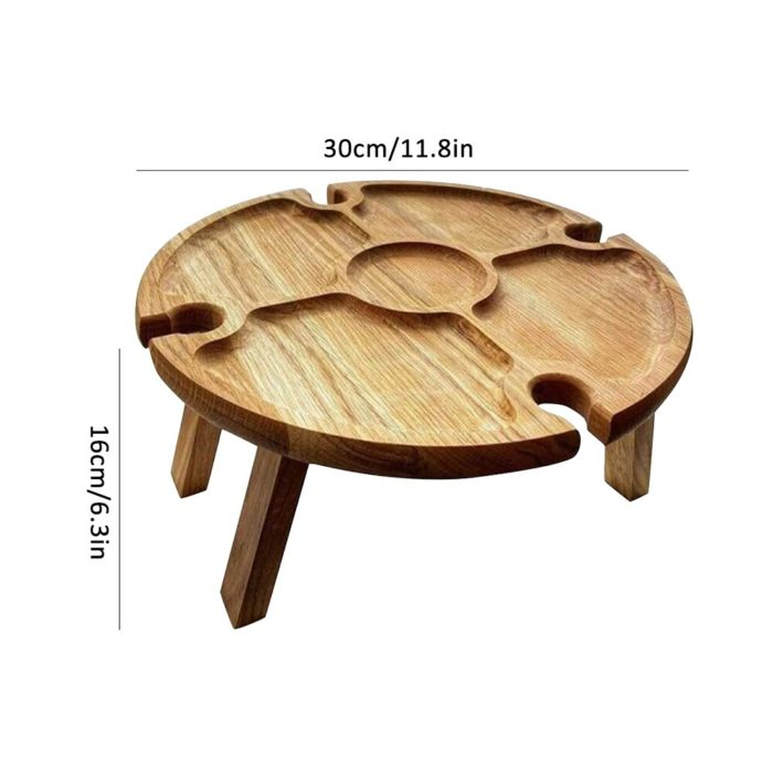 Wooden Portable Wine and Cheese Table