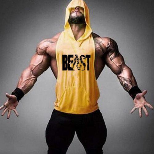Mens Sleeveless Gym Hoodies Workout Top