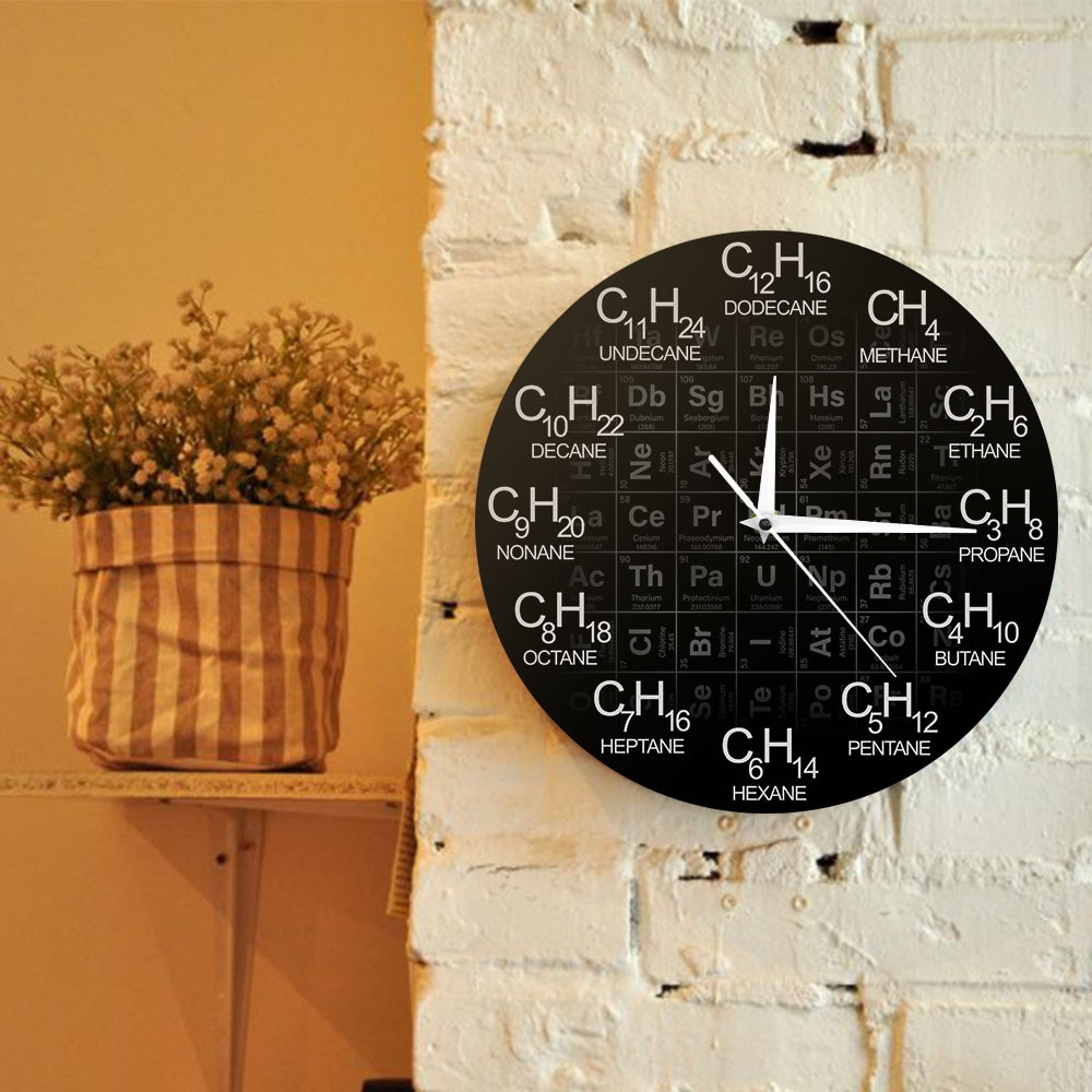 Periodic Table of Elements Chemistry Wall Clock Chemical Formulas As Time Numbers Wall Watch Chemical Science Wall Art Decor