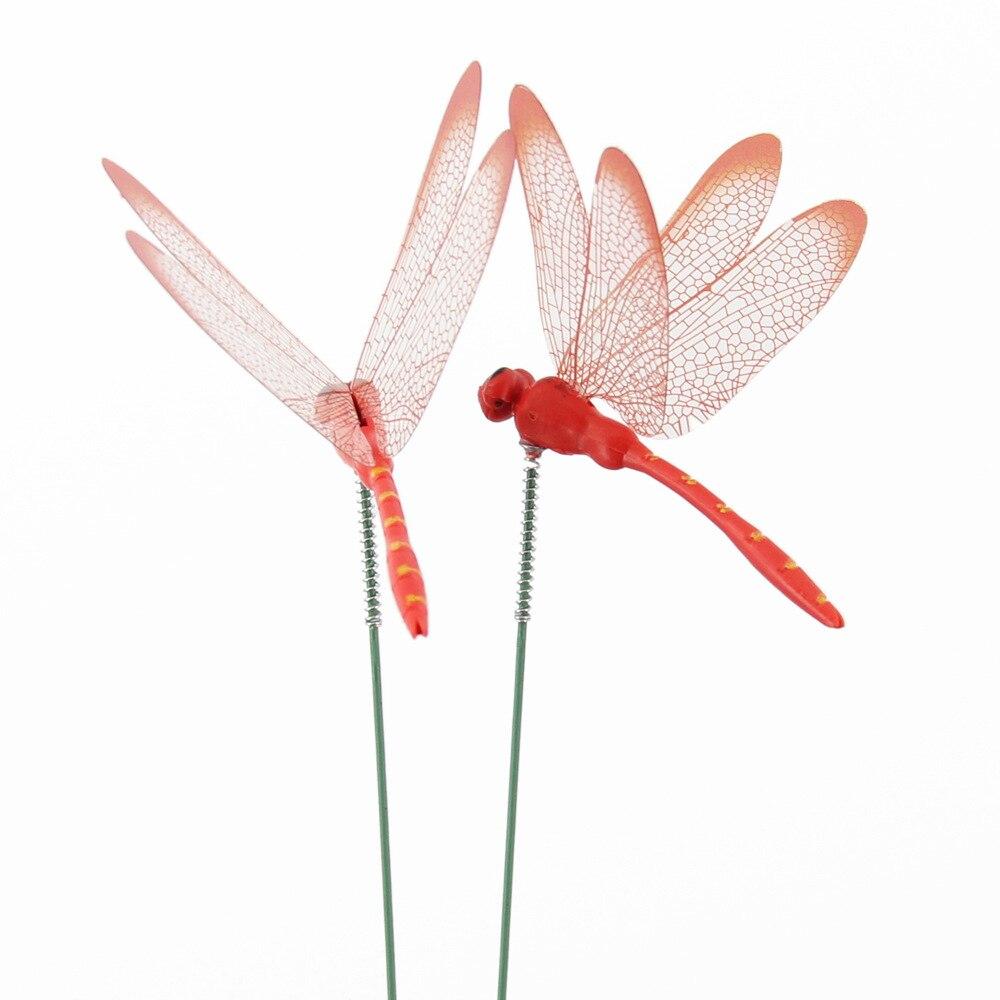 Set of 10pcs Dragonflies Insert Rod Gardening Decoration Simulation Dragonfly Home Decoration Background Gardening Decoration
