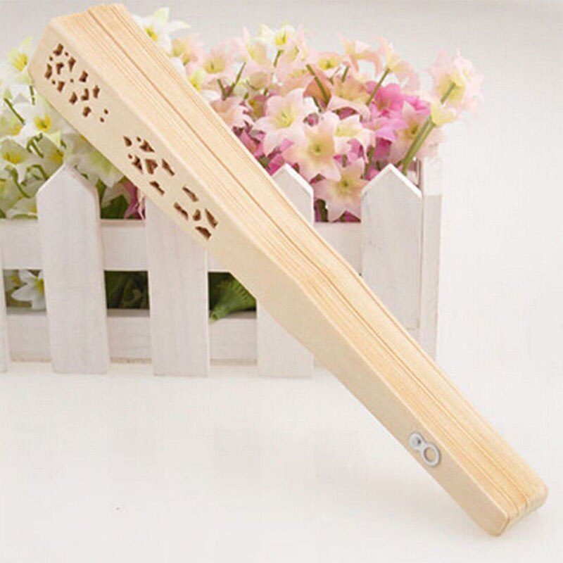 20cm Fragrant Home Decoration Crafts Bamboo Wooden Fan Summer Accessory Art Folding Carved Hand Fan