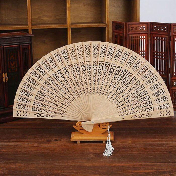 Folding Carved Wooden Hand Fan