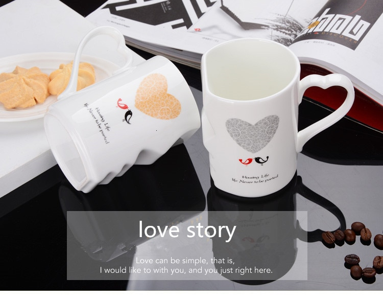 Two creative coffee cups Double Bowl Ceramic Bowl kiss Valentine's day birthday gift wedding Trent fashion Couple ceramic cups