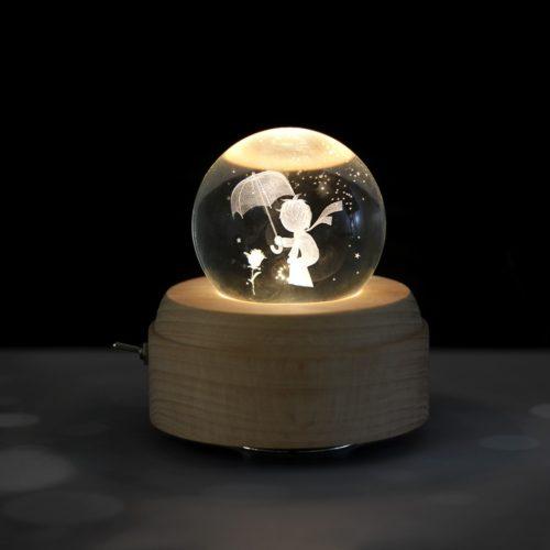Rotating Light-Up Crystal Ball Music Box
