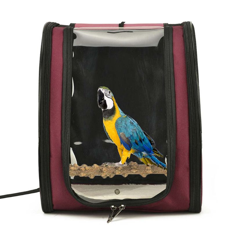 Portable Bird Carrier Cage Bag Breathable Parrot Out Backpack Pet Bird Travel Box Carrier for Large and Small Birds Starling Cre