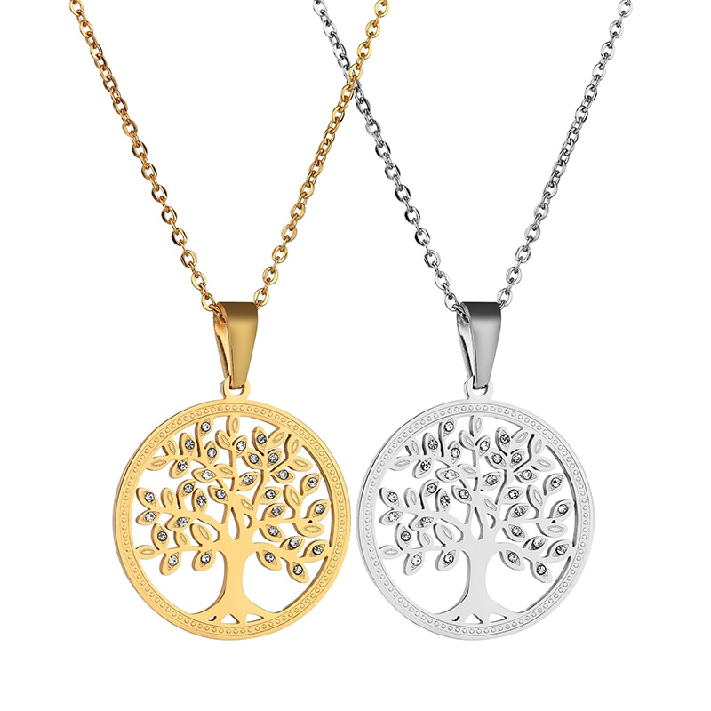 Nextvance Rhinestone Tree Of Life Necklaces Stainless Steel Round Pendant Necklaces For Women Men Gift Collar Dropshipping