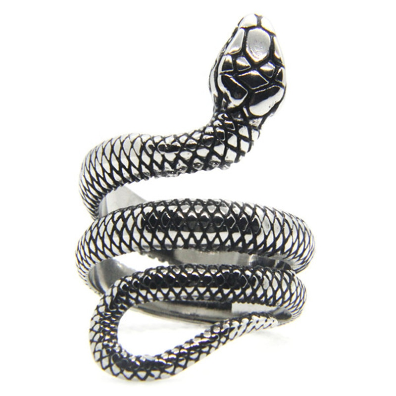 Solid Snake Ring 316L Stainless Steel Jewelry Punk Style Unisex Serpent Ring Size 6-13