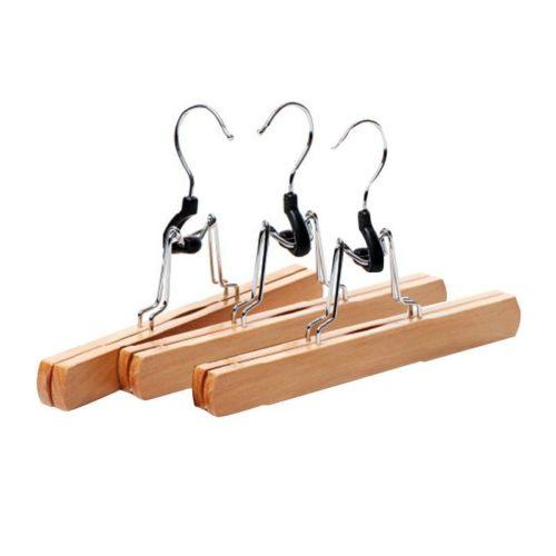 Clip-Type Wooden Skirt Hangers (3pcs)