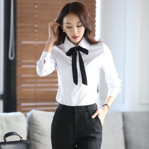 Ladies White Long Sleeve Blouse with Bow