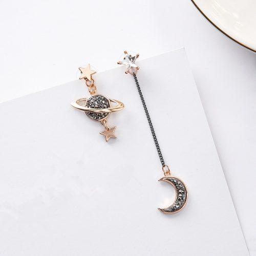 Moon and Star Asymmetrical Earrings