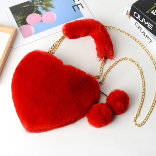 Soft Plush Heart Shaped Purse