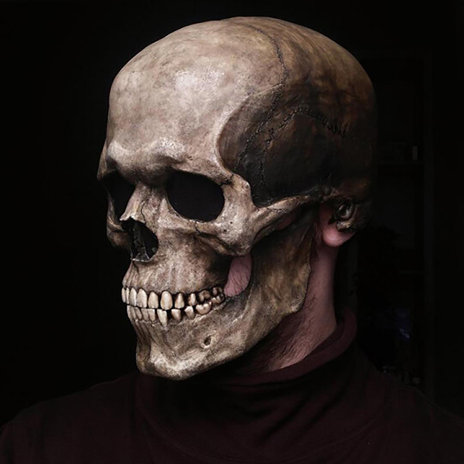 2021 Halloween Horror Decoration Full Head Skull Mask/Helmet Toys Movable Jaw Creative Unisex Funny игрушки для детей