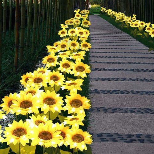 Outdoor Solar Powered Sunflower Stake