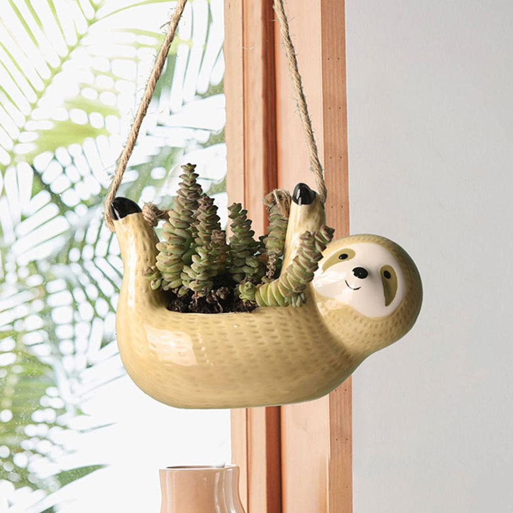 Sloths Flowerpots Planters Yellow Wall Hanging Ceramic Vase For Garden Decoration Decoration Countyard Garden Flower Pot