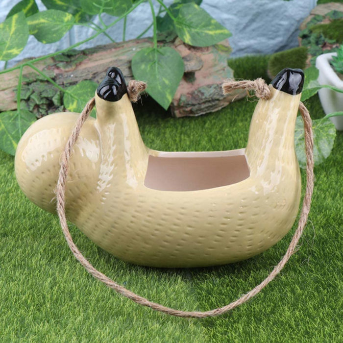 Ceramic Garden Hanging Sloth Planter