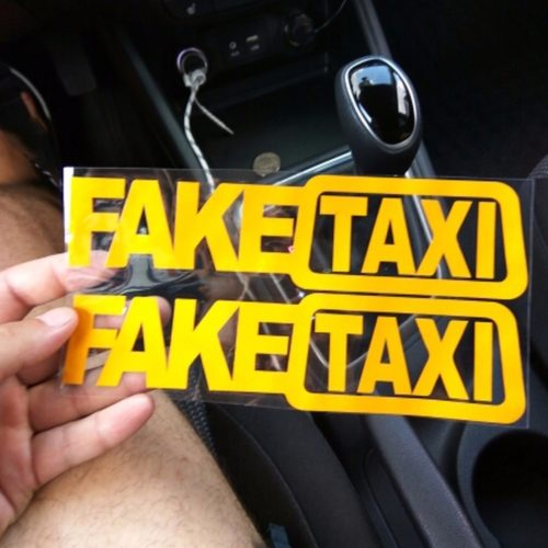 Funny Reflective Fake Taxi Stickers (2Pcs.)