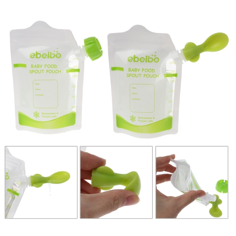 OOTDTY 10 PCS Baby Food Pouches Feeding Supplies Bag Double Zippers Reusable Food Box