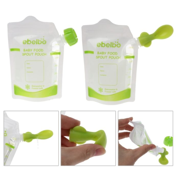 Baby Food Pouch Spoons with Lids (10pcs)