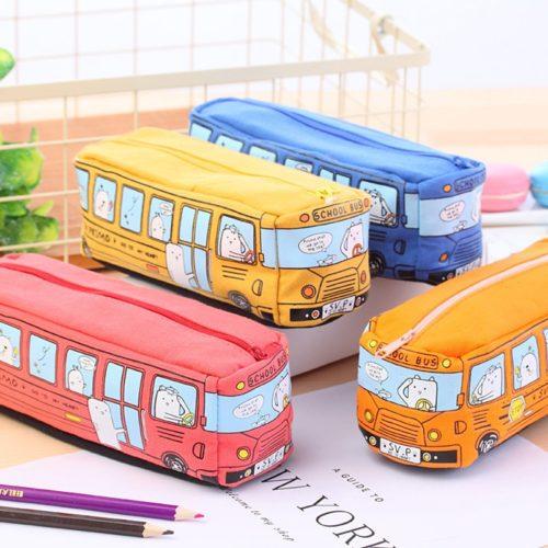 Canvas Pencil Case Bus Design