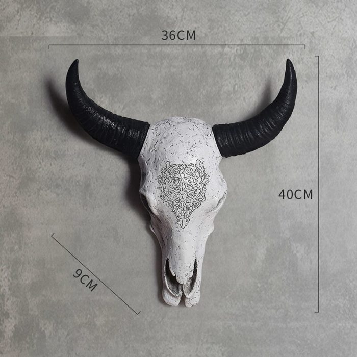 3D Resin Cow Skull Wall Decor