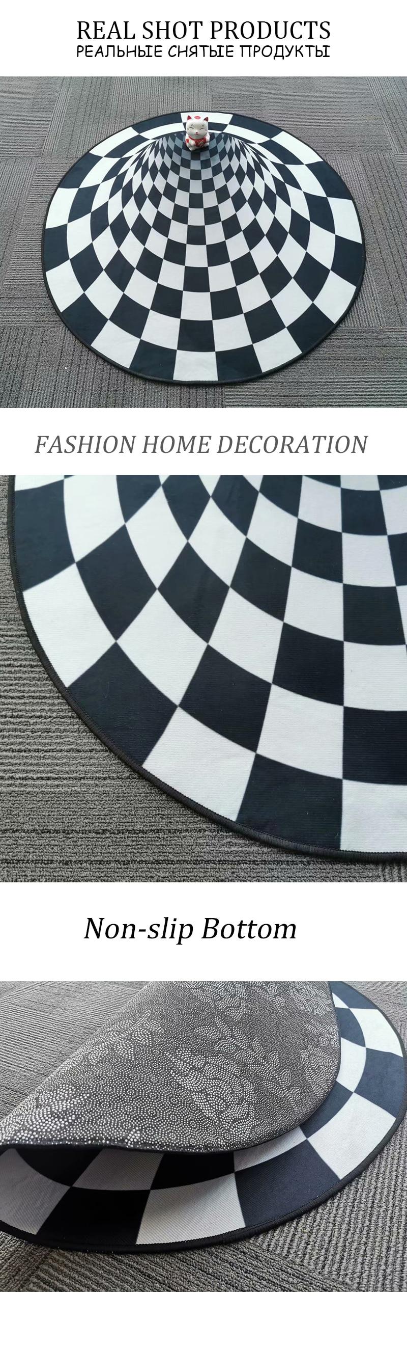 Bubble Kiss 2020 New 3D Round Carpet Vortex Illusion Rug Black&White Stereo Vision Mat Living Room Carpet Bedroom Decor Area Rug