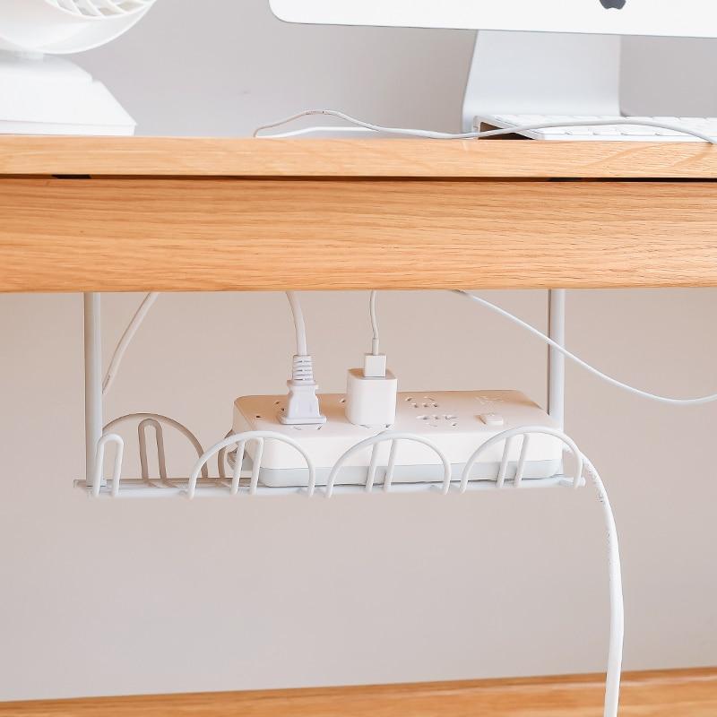 Under Table Storage Rack Cable Rack Shelf Table Bottom Socket Holder Hanging Rack Line Finishing Home Office Desk Wire Organizer